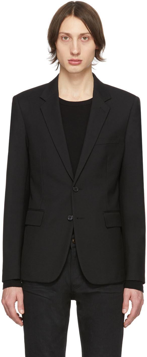 Saint Laurent 黑色羊毛华达呢西装外套