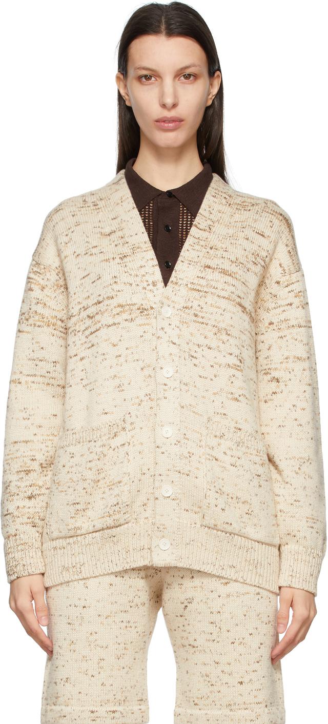 AURALEE 驼色 Super Fine Cotton Resist Dyed Big 针织开衫