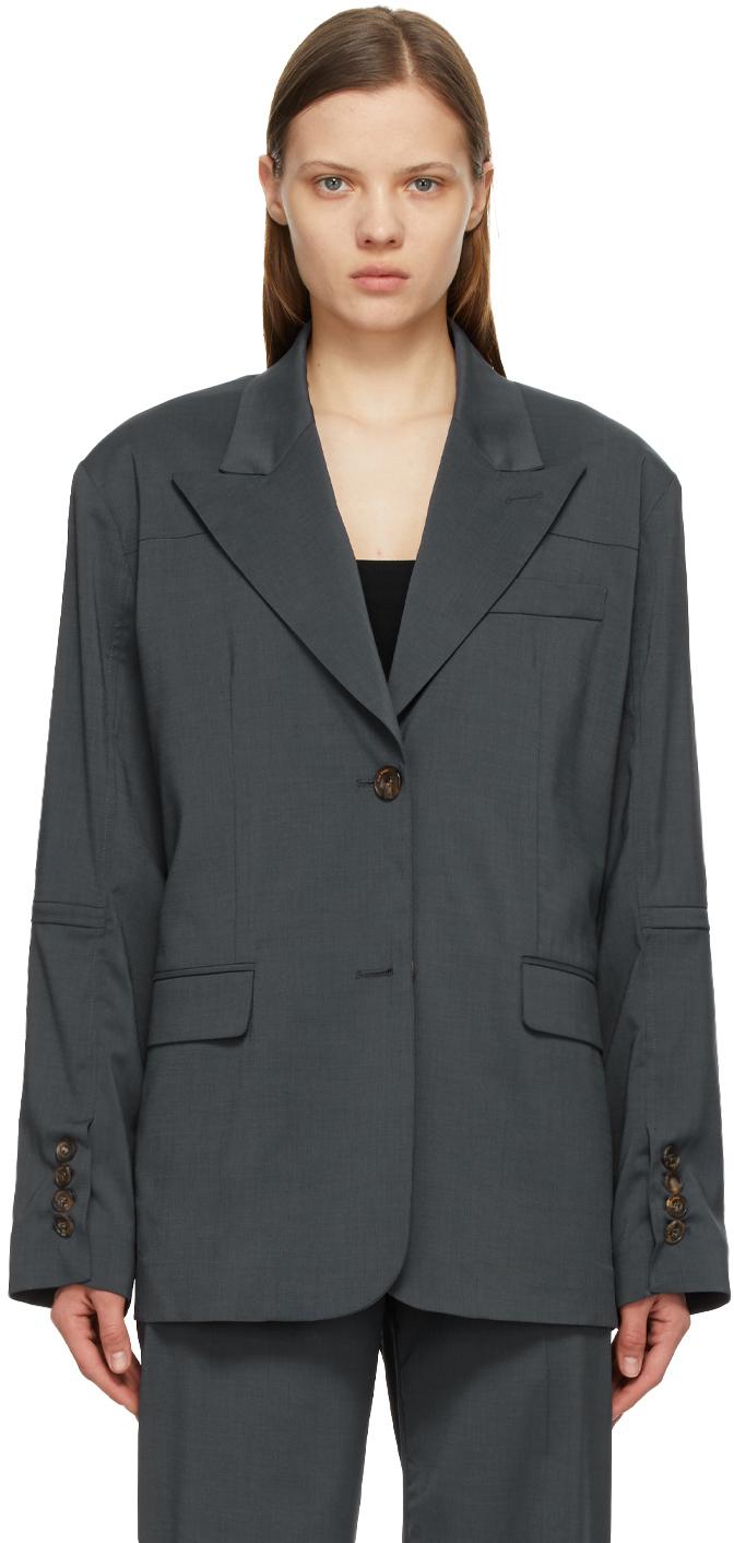 Kim Matin 灰色拉链西装外套