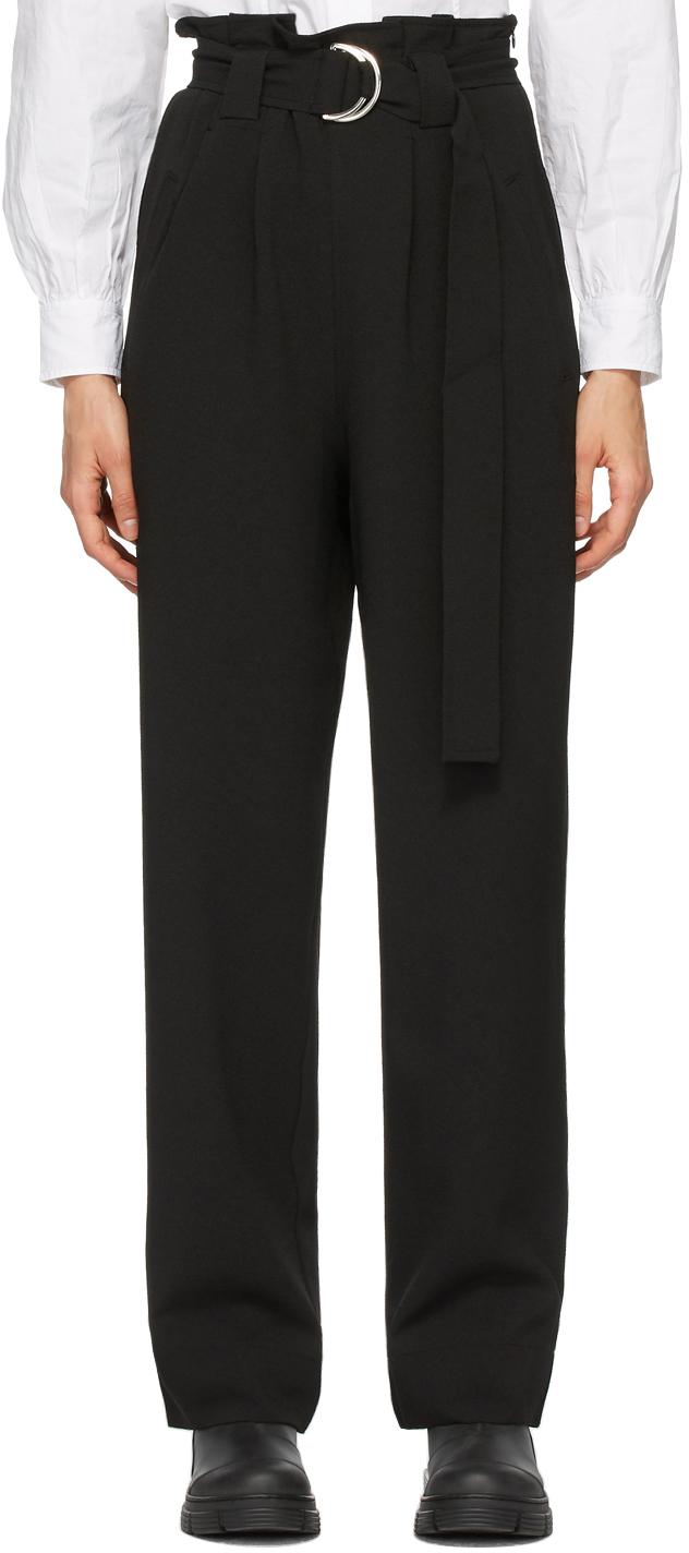 GANNI 黑色重磅绉纱束带长裤