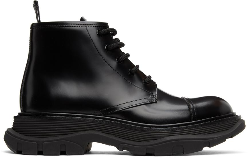 Alexander McQueen 黑色 Shiny Tread 踝靴