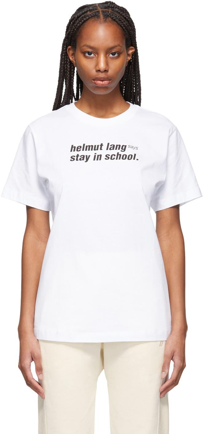 "Helmut Lang 白色""School"" T 恤"