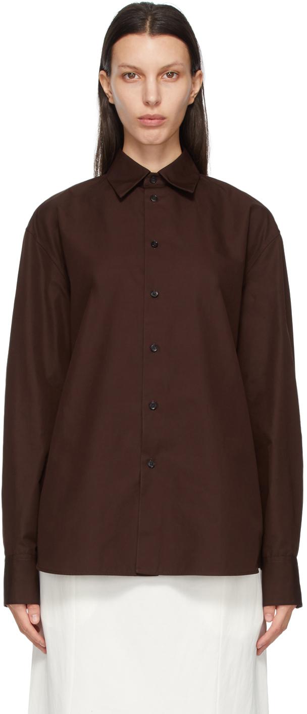 Jil Sander 棕色大廓形有机棉衬衫