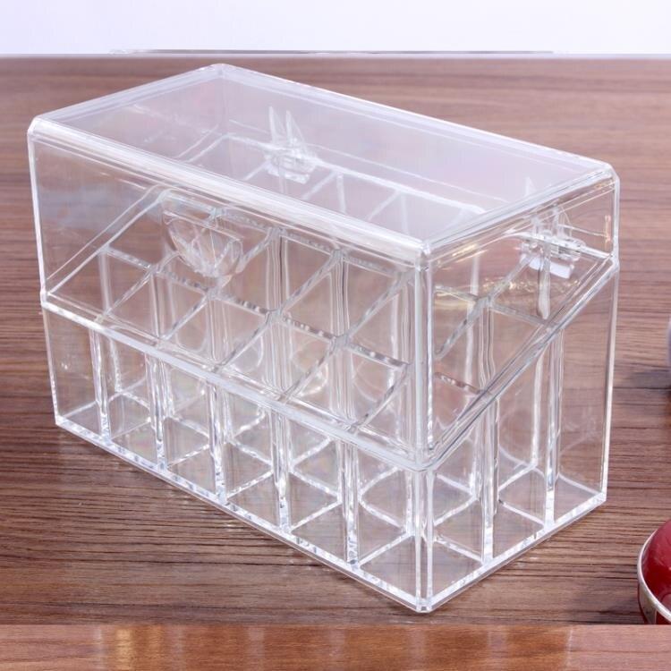 化妝品收納盒 桌面口紅收納盒放唇膏唇釉盒子多格指甲精油化妝品整理展示架