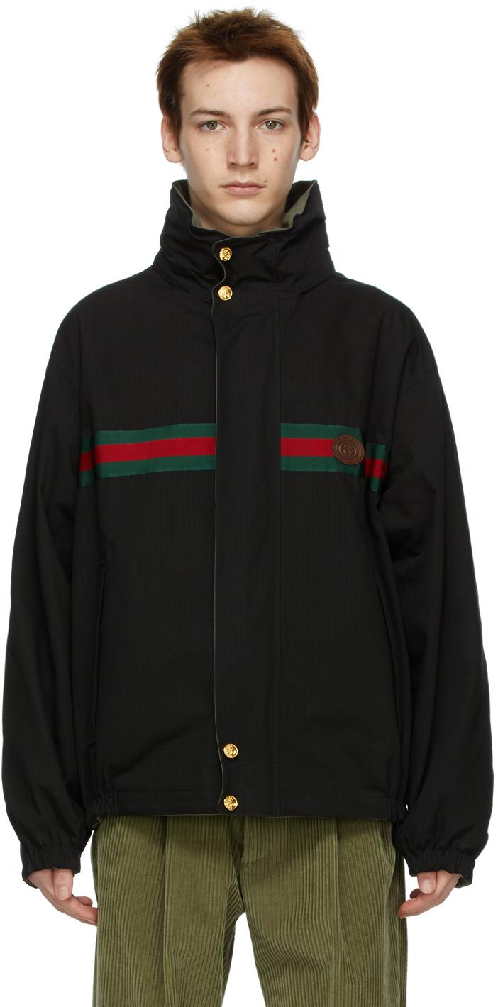 Gucci 黑色 & 绿色防撕面料双面夹克