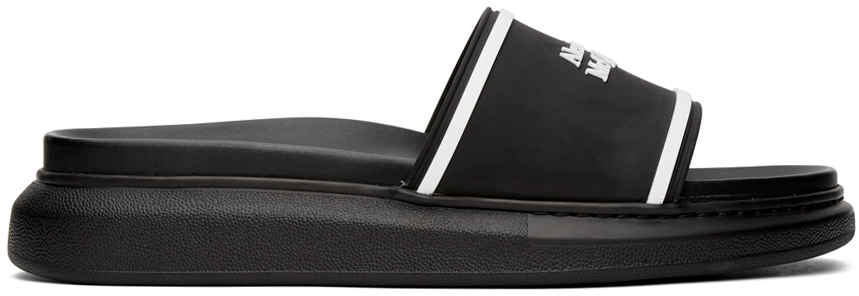 Alexander McQueen 黑色 & 白色 Hybrid 徽标拖鞋