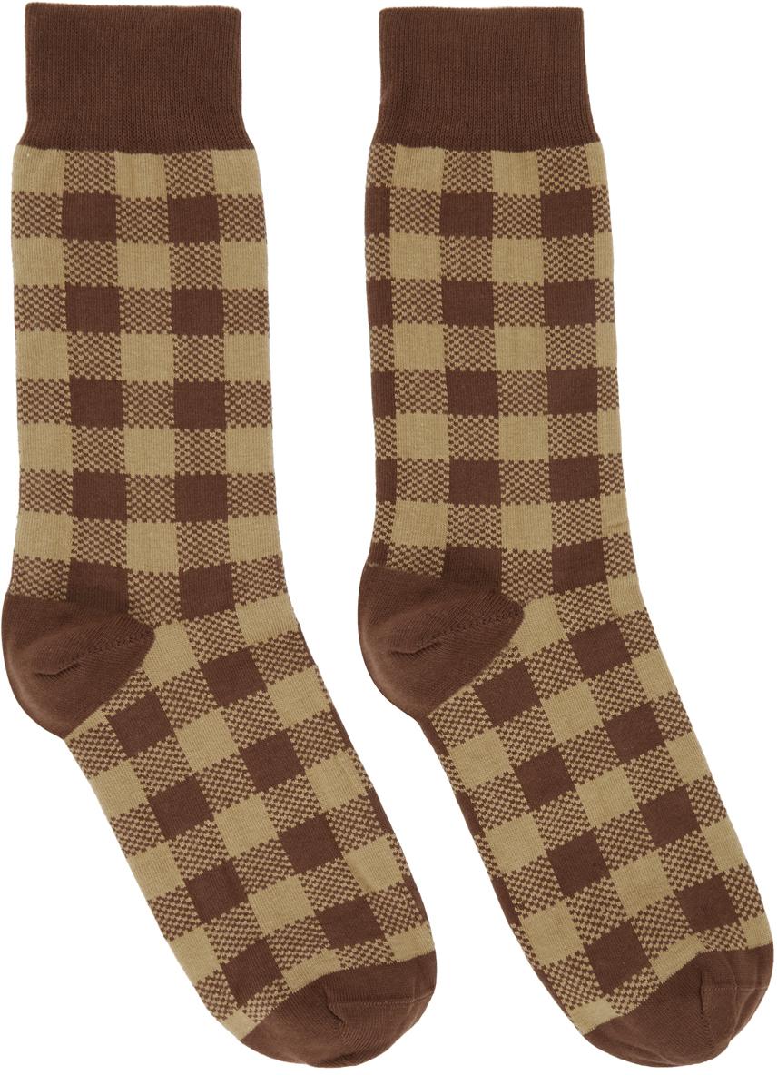 Ernest W. Baker 棕色提花格纹中筒袜