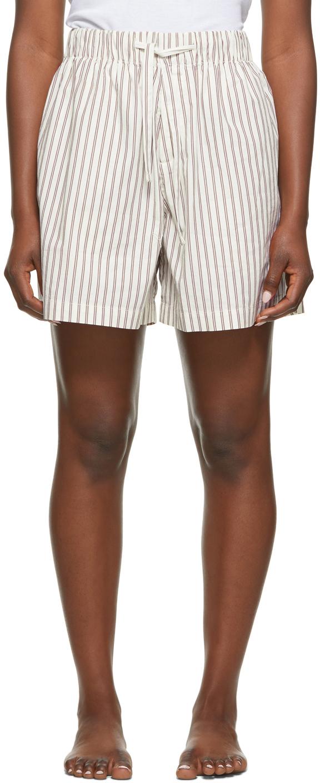 Tekla 白色 & 棕色条纹有机棉睡裤