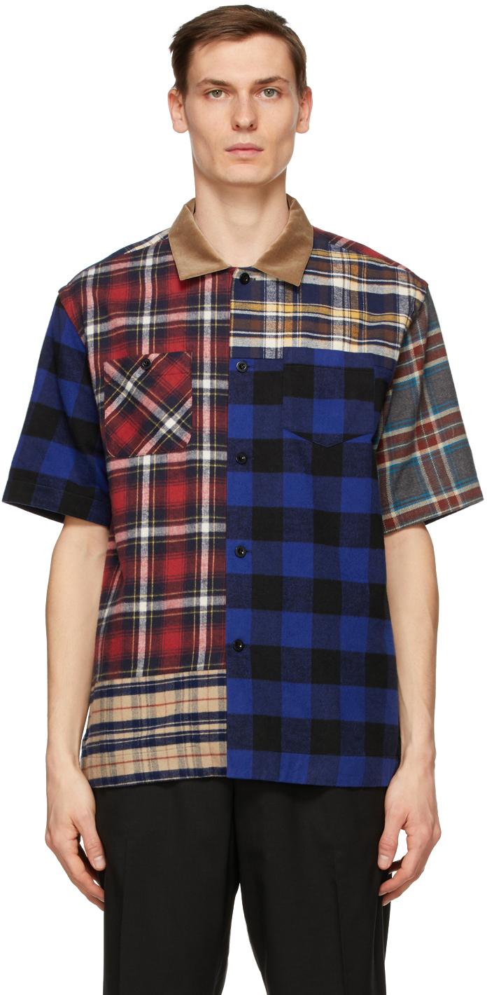 Sacai 多色 Mix Plaid 法兰绒短袖衬衫