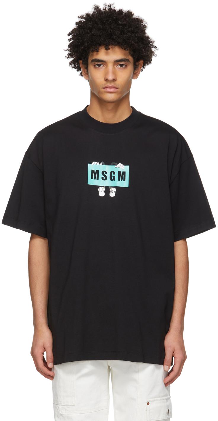 MSGM 黑色徽标图案 T 恤