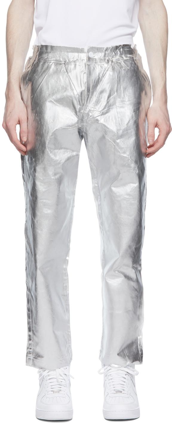 Comme des Garçons Homme Plus 白色 & 银色 Foil 长裤