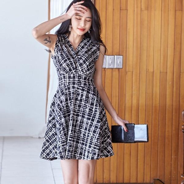 無袖洋裝S-XL韓版時尚氣質優雅印花收腰顯瘦背心裙A字裙6266#H506紅粉佳人