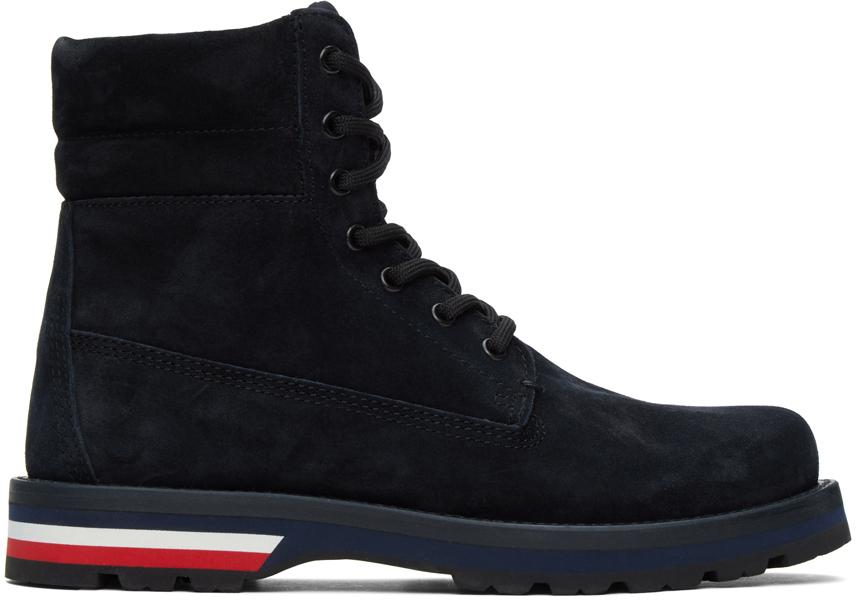 Moncler 海军蓝 Vancouver 绒面革踝靴