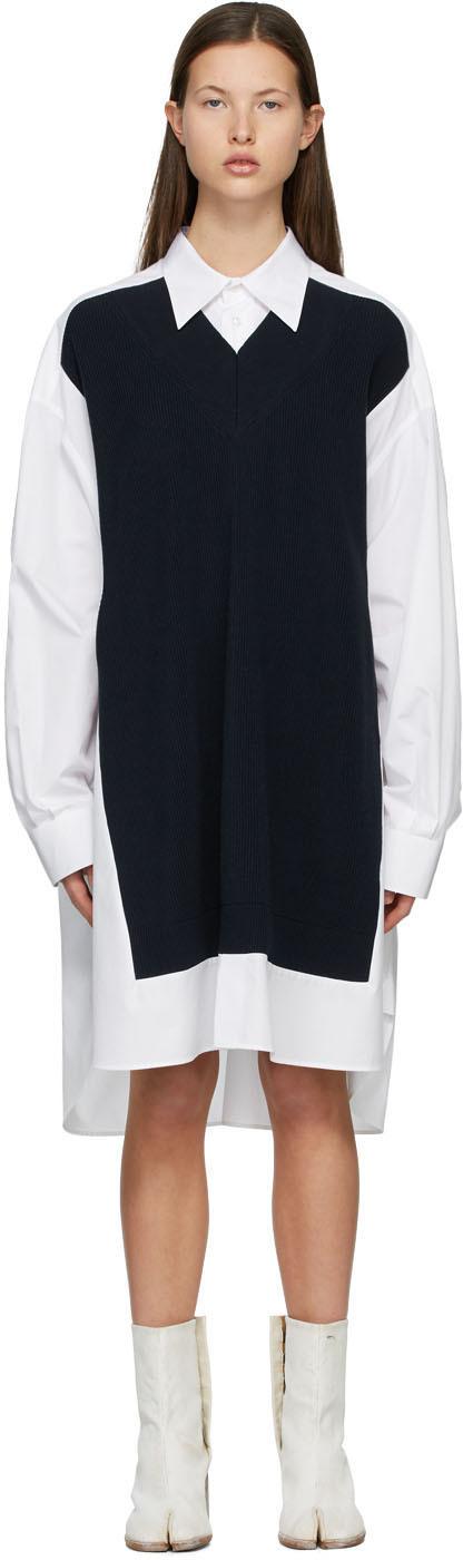Maison Margiela 白色 & 海军蓝 Spliced 衬衫连衣裙
