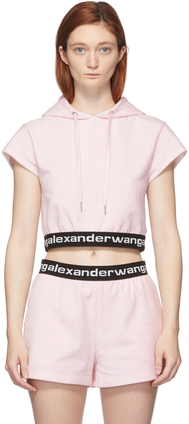 alexanderwang.t 粉色松紧徽标盖袖连帽 T 恤