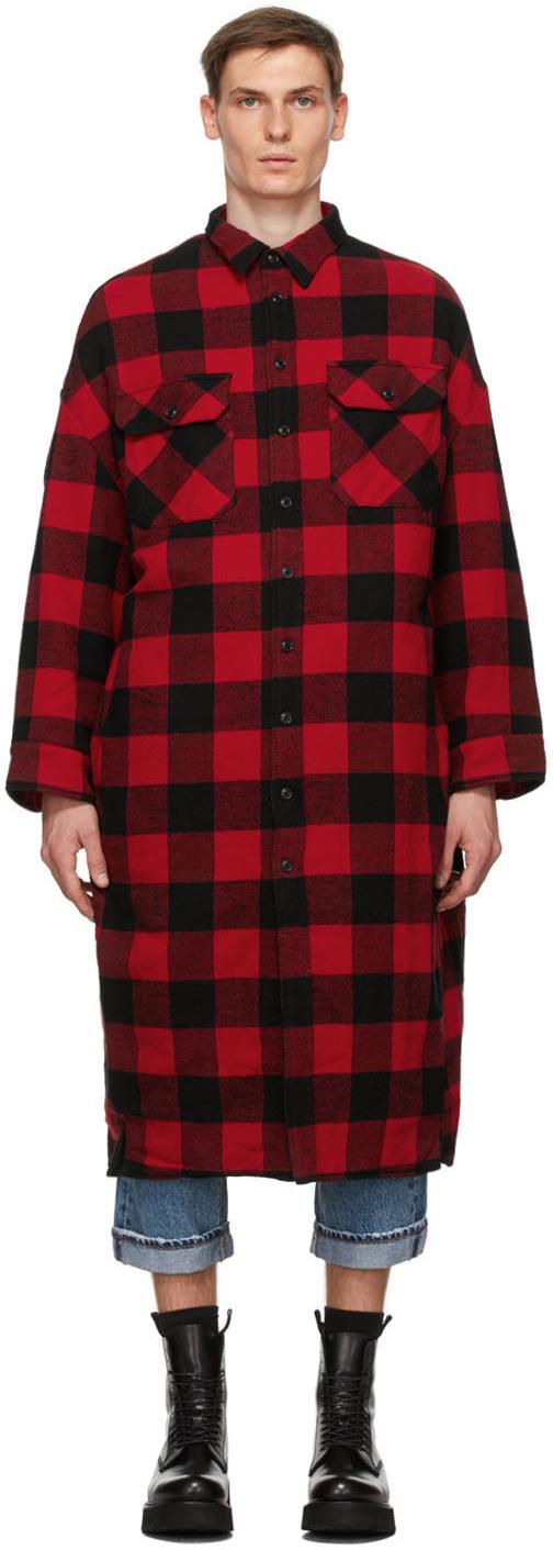 R13 红色 & 黑色 Overshirt 格纹法兰绒大衣