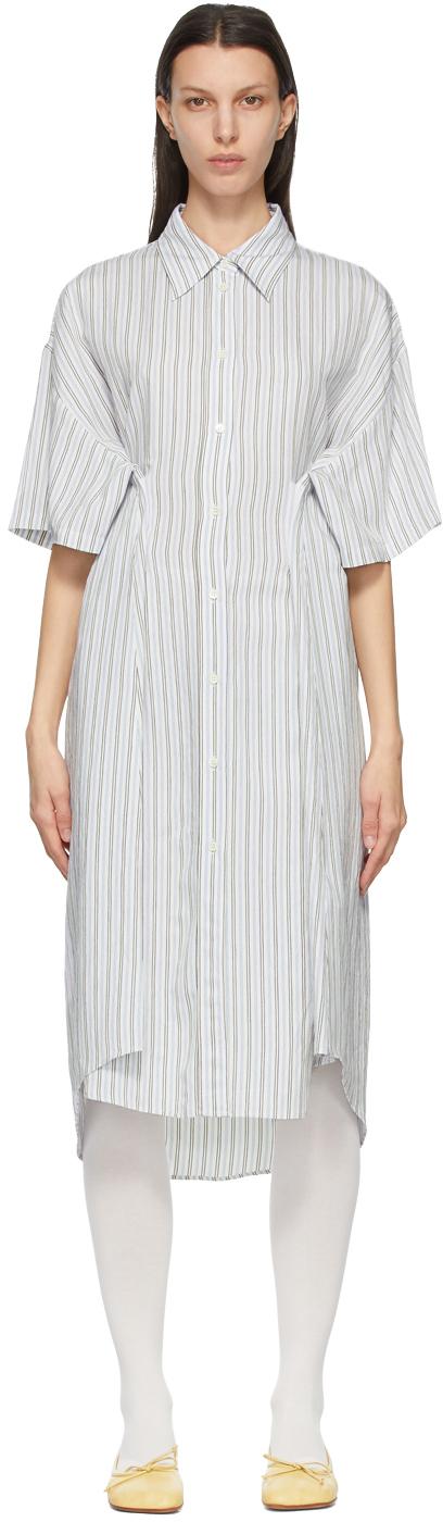 MM6 Maison Margiela 白色条纹衬衫连衣裙