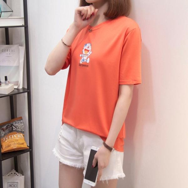 短袖T恤 韓版休閒上衣大尺碼女裝L-4XL夏季新款圓領T恤 21068MR26韓衣裳