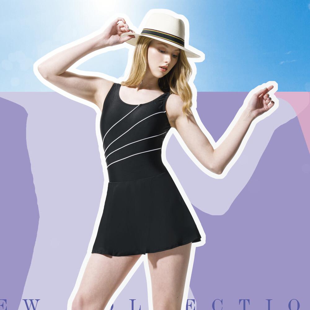 梅林泳裝 大女黑色白色出芽斜邊連身裙泳衣  no-m0453
