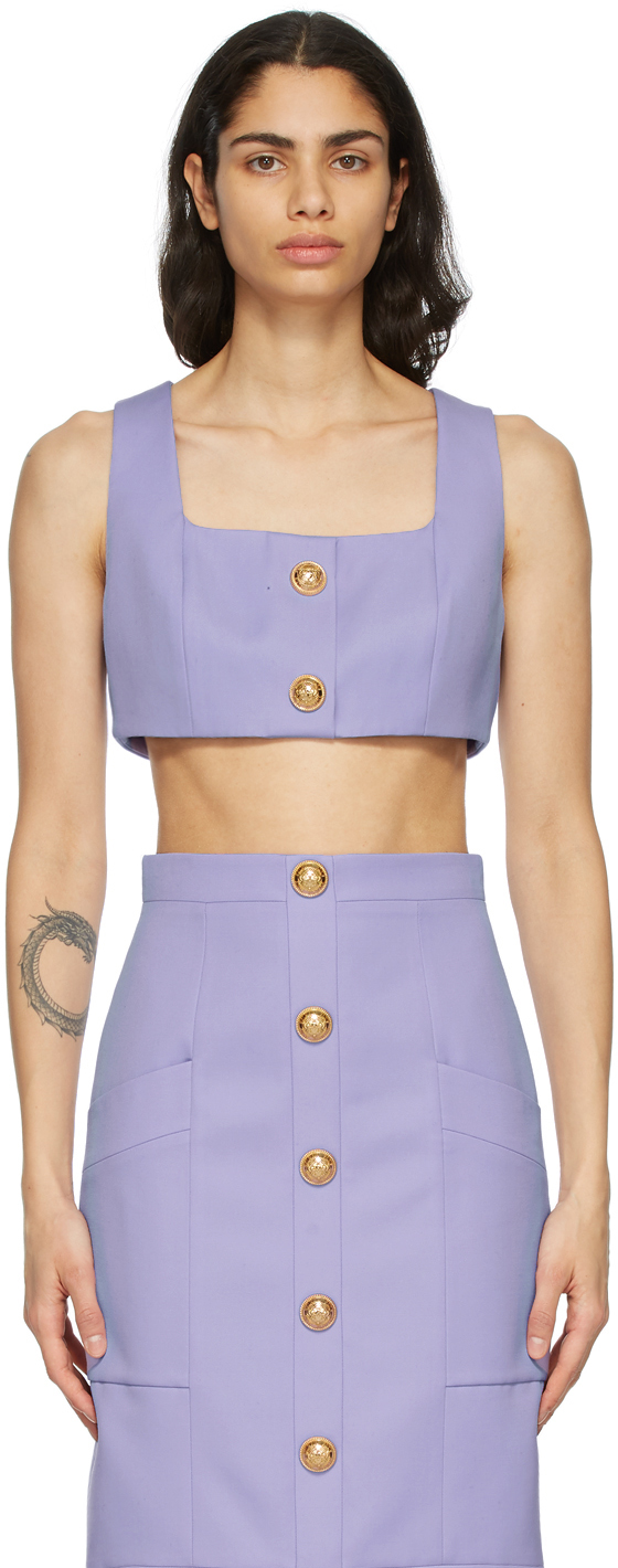 Balmain 紫色短款羊毛背心
