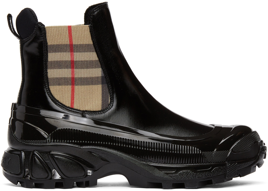 Burberry 黑色 GH3 Story Vintage Check 切尔西靴