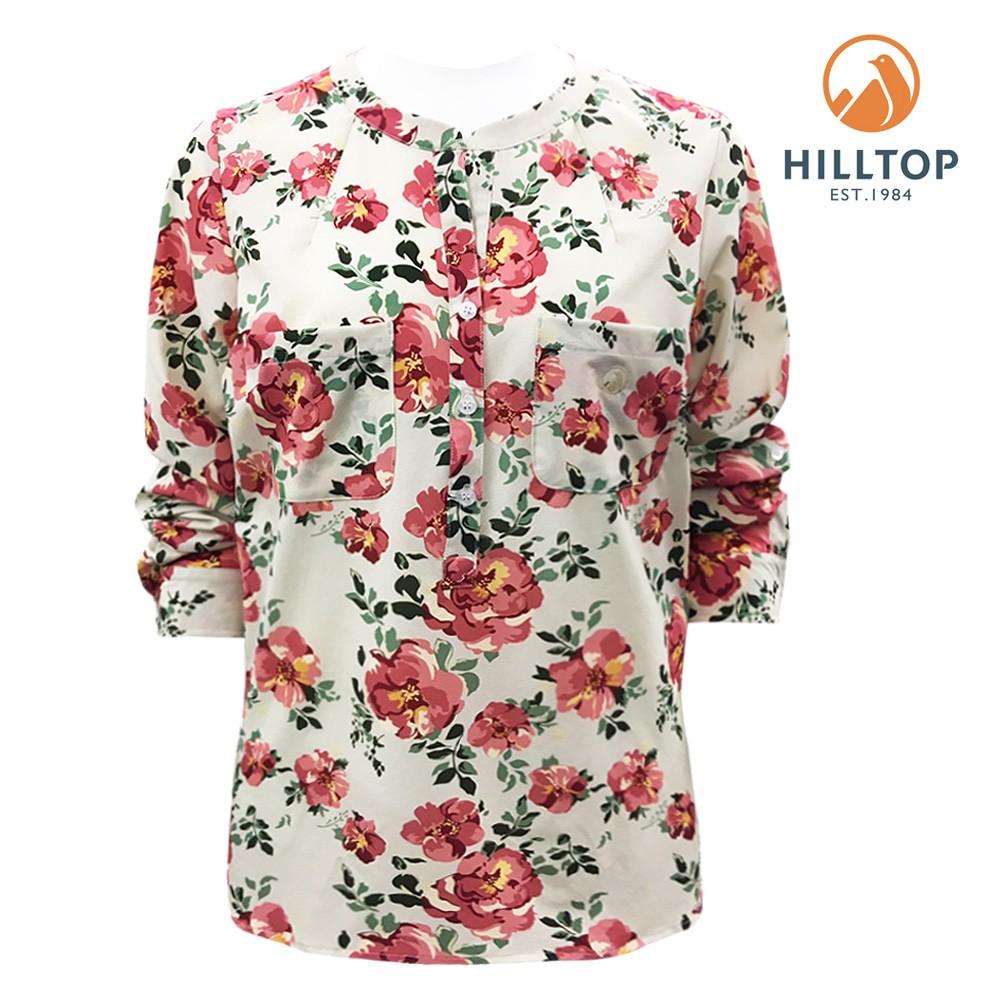 女款吸濕快乾抗UV彈性長袖襯衫S05F72-暗粉玫瑰印花