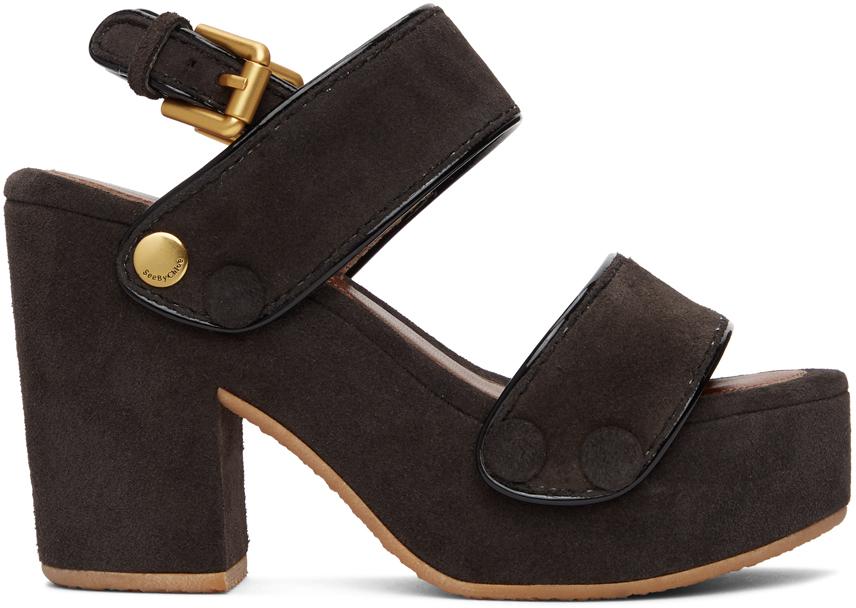 See by Chloé 棕色 Galy 绒面革凉鞋