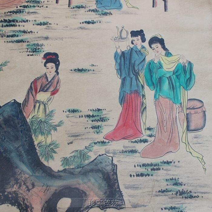 仿古中堂畫字畫影視道具卷軸畫美如天仙圖辦公室書房中堂裝飾掛畫