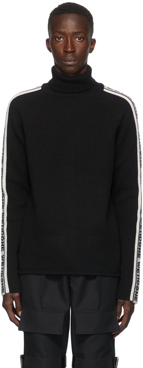 We11done 黑色 & 白色徽标条纹高领毛衣
