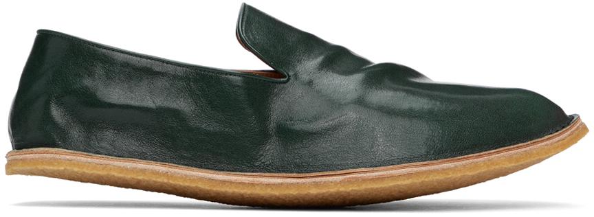 Dries Van Noten 绿色褶皱皮革乐福鞋