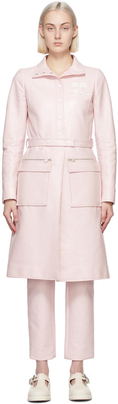 Courrèges 粉色徽标风衣