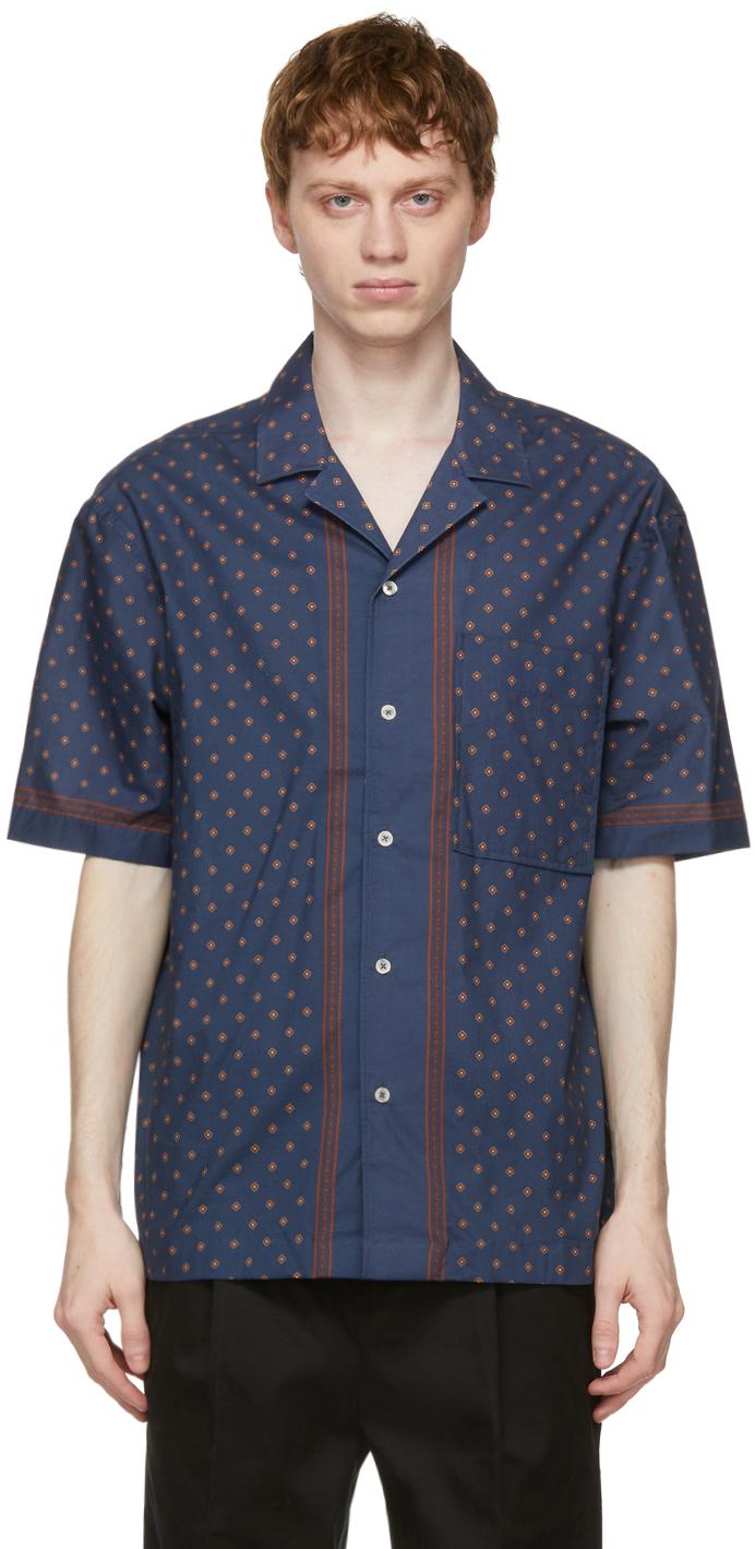 PRESIDENT's 海军蓝 Rapallo Print Rangi 短袖衬衫