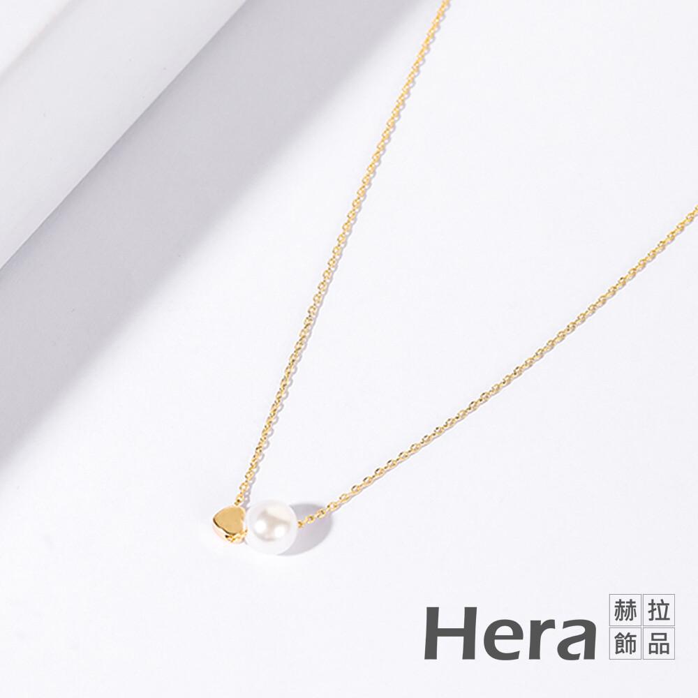 hera 赫拉歐美百搭珍珠愛心項鍊細鎖骨鏈#100331k
