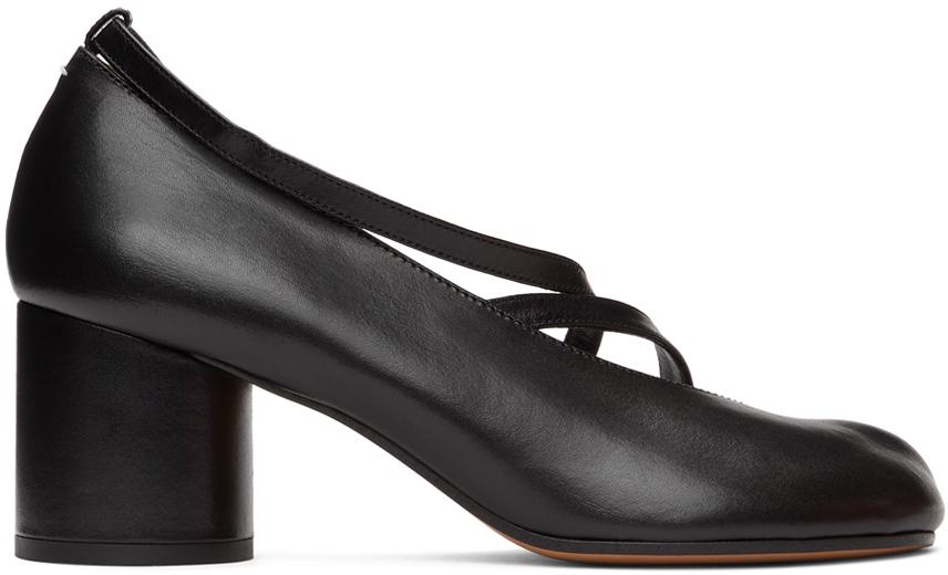 Maison Margiela SSENSE 独家发售黑色 Tabi 露趾踝带凉鞋