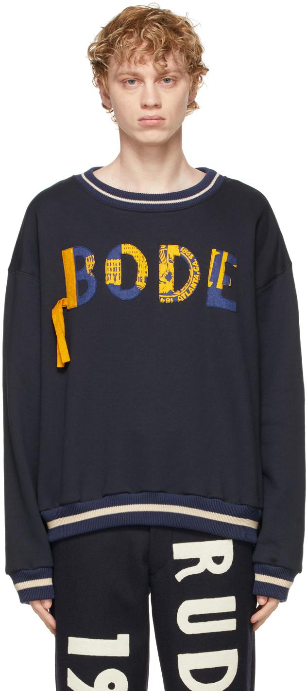 Bode 海军蓝徽标贴花套头衫