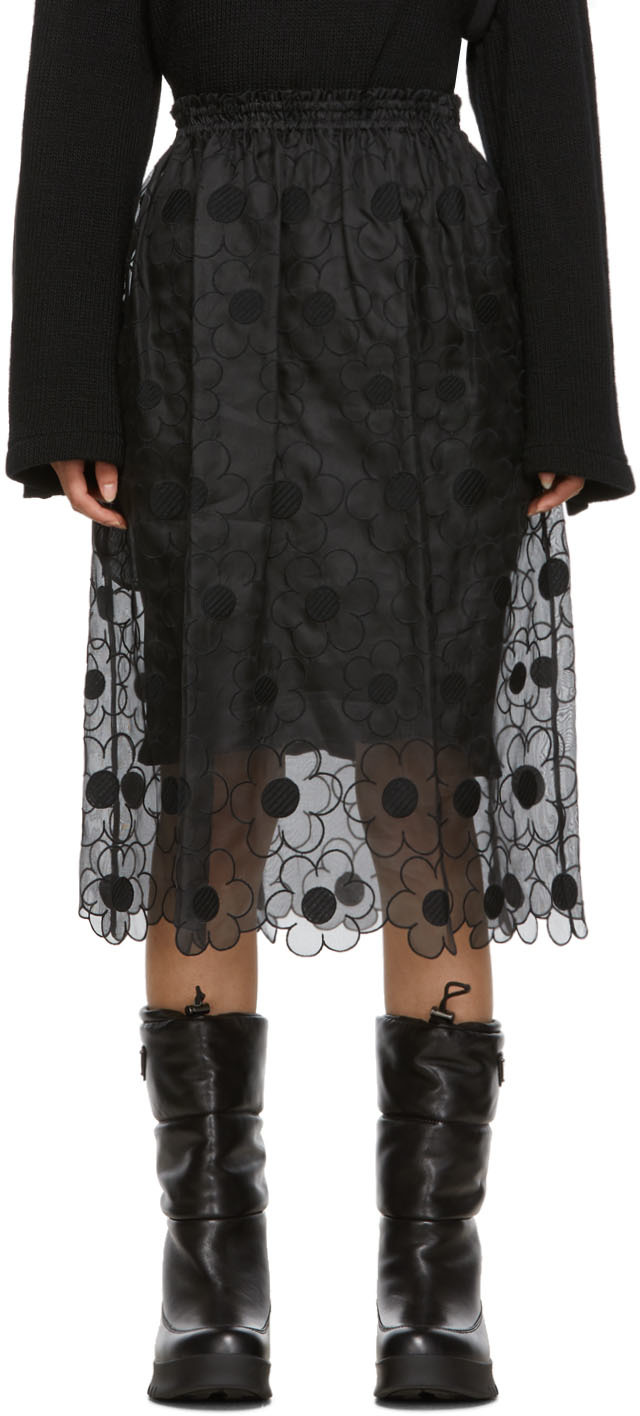 Moncler Genius 4 Moncler Simone Rocha 黑色蕾丝半身裙