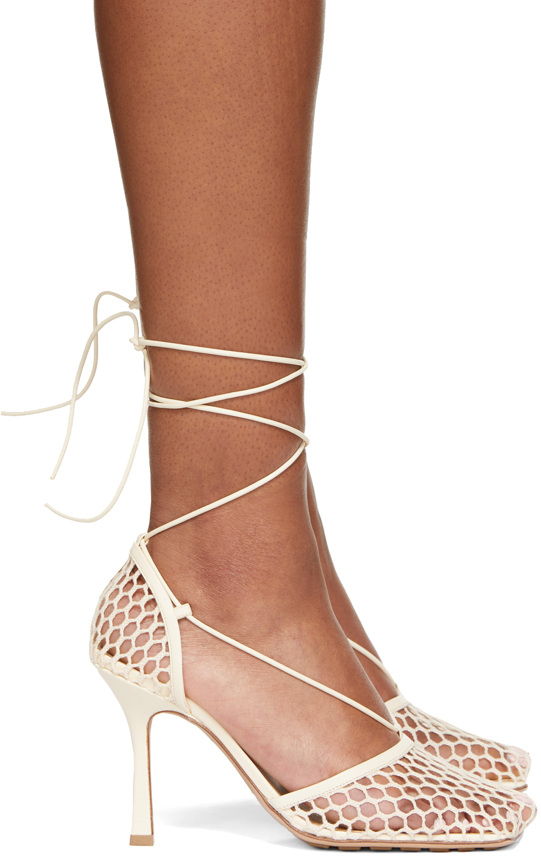 Bottega Veneta 灰白色 Stretch 网眼高跟鞋