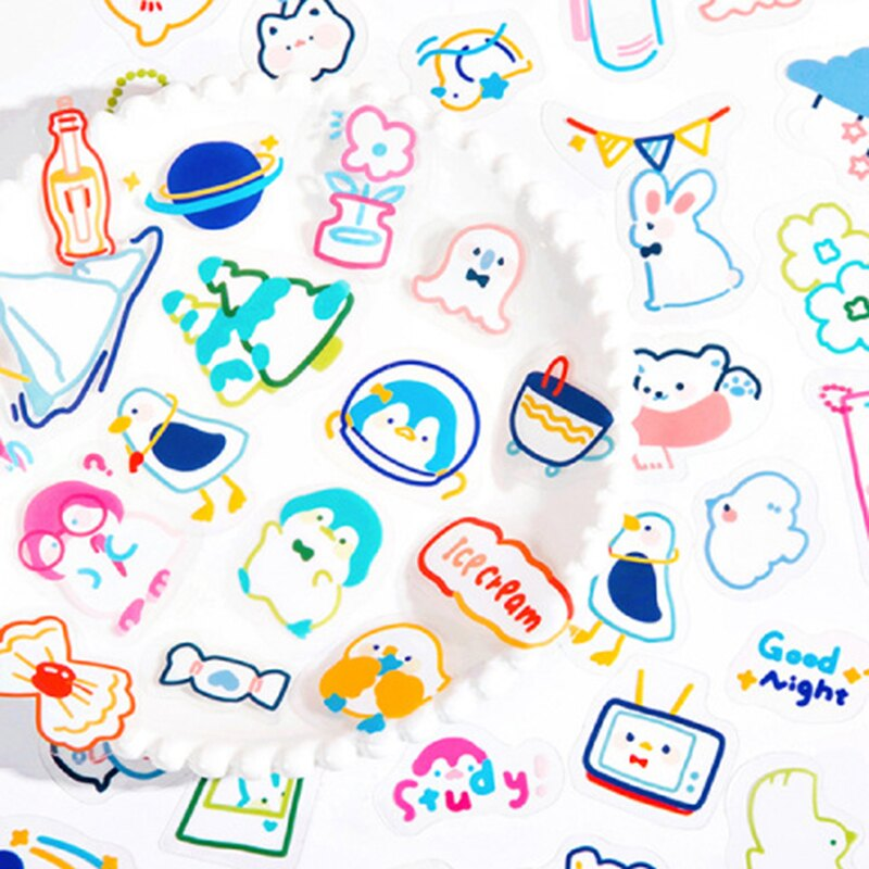 小企鵝幼兒園貼紙包 開學季 半透明貼紙 手帳貼紙 異形貼紙【BlueCat】【JC4235】