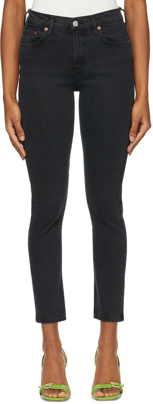 AGOLDE 黑色 Toni Mid-Rise Straight 牛仔裤