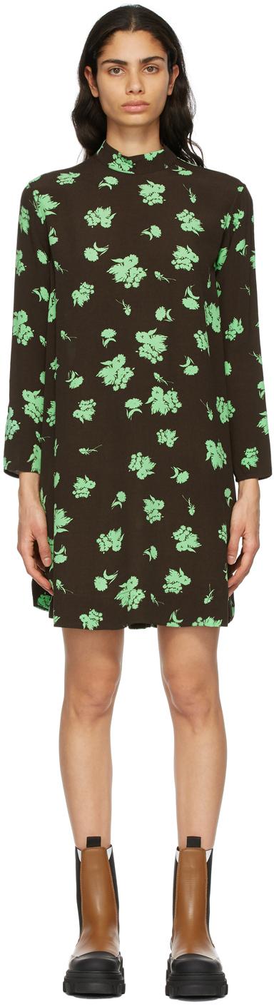 GANNI 棕色印花绉纱连衣裙