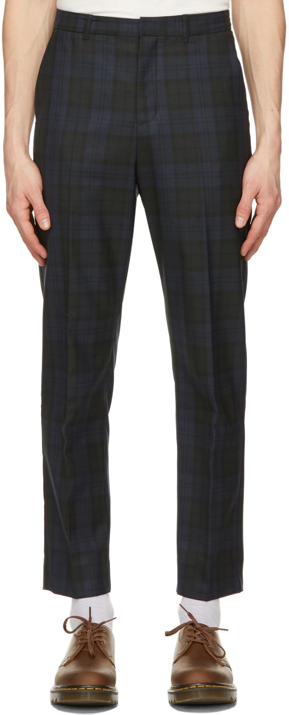 Wood Wood 黑色 & 海军蓝 Surrey 格纹长裤
