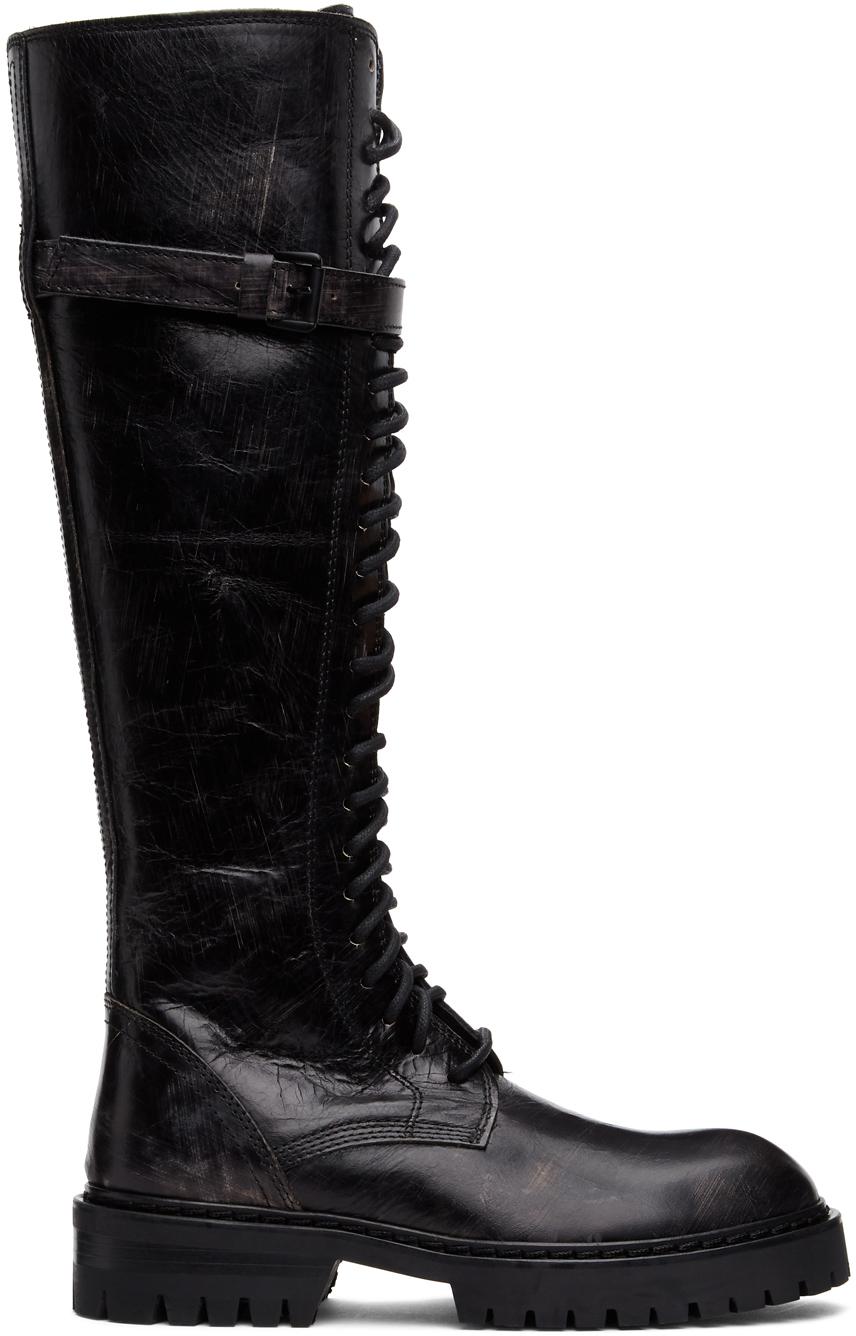 Ann Demeulemeester SSENSE 独家发售黑色 Foil Scrub 高筒靴