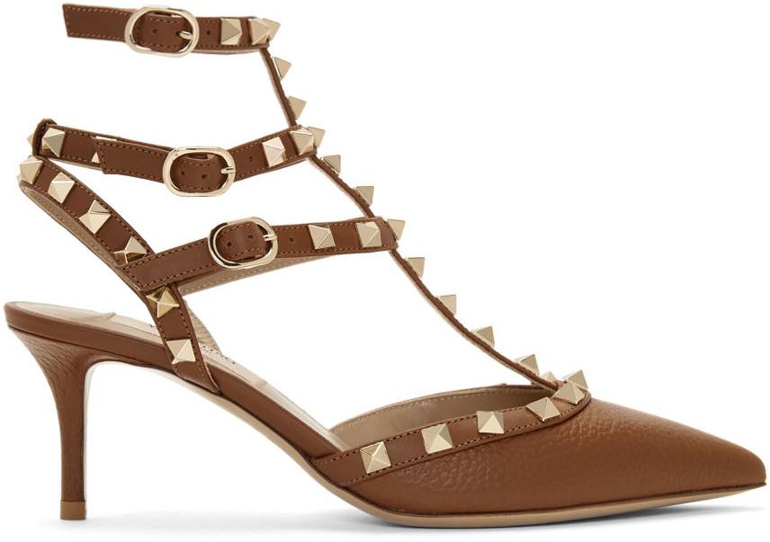 Valentino Garavani 棕色 Valentino Garavani 系列 Rockstud Caged 高跟鞋