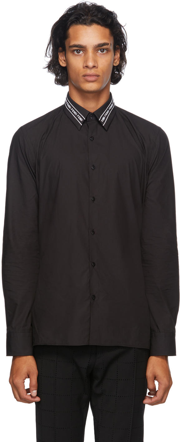 Fendi 黑色 Embroidered Collar 衬衫