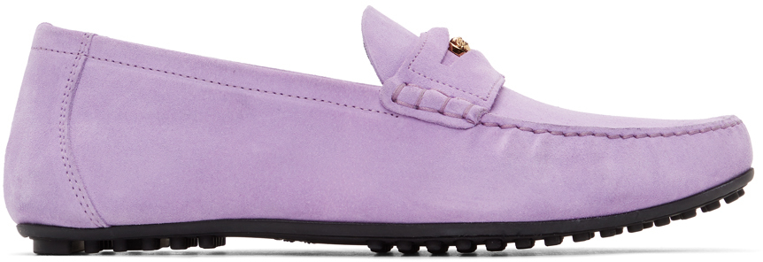 Versace 紫色 Medusa 绒面革乐福鞋