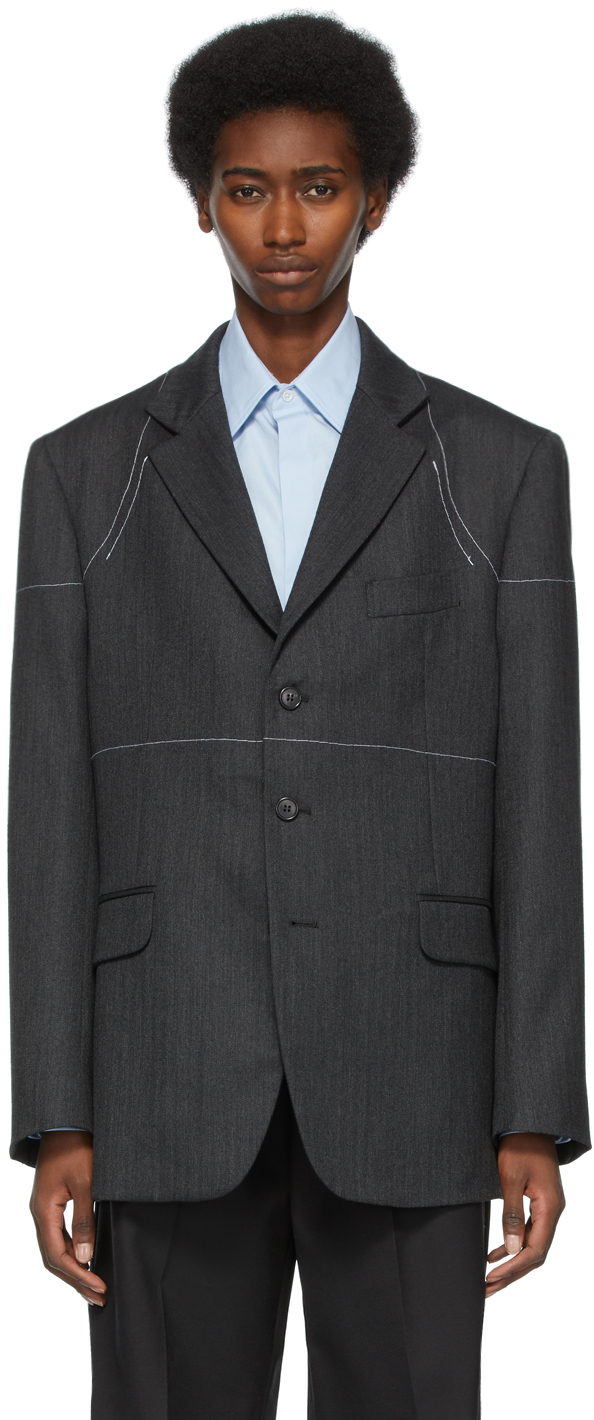 Maison Margiela 灰色大廓形羊毛西装外套