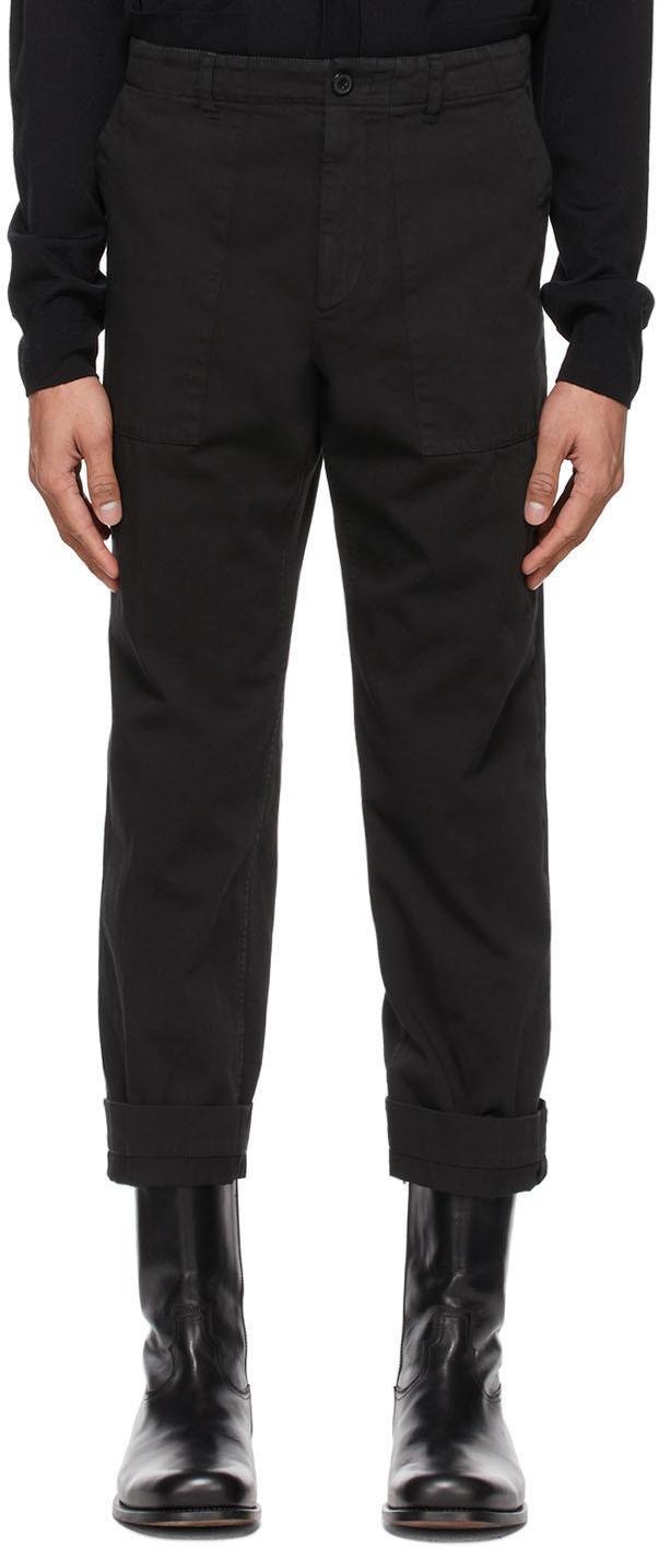 Dries Van Noten 黑色斜纹长裤