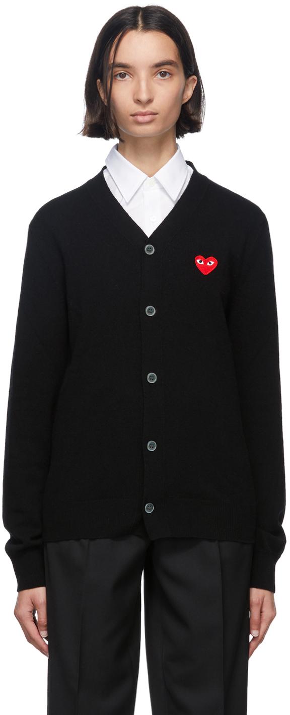 Comme des Garçons Play 黑色 Men's Fit Heart Patch 羊毛 V 领开衫
