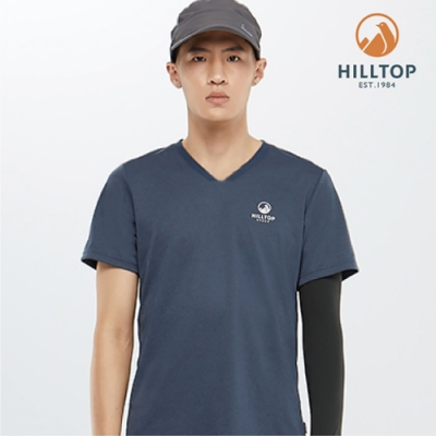 【hilltop山頂鳥】男款吸濕快乾抗UVPolygiene抗菌S04MD6深藍麻花