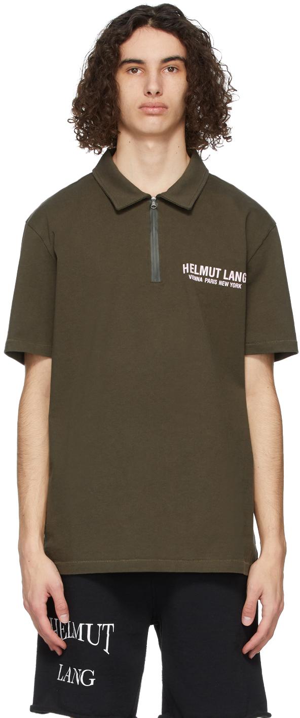Helmut Lang 军绿色徽标 Polo 衫